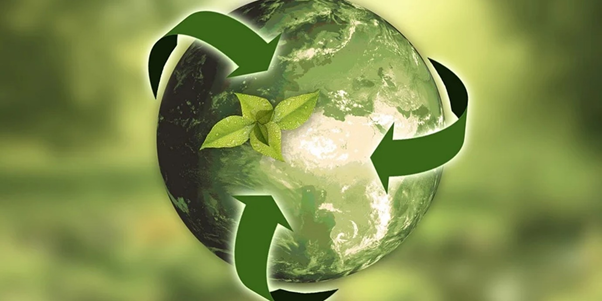 Recyclable world sign in green